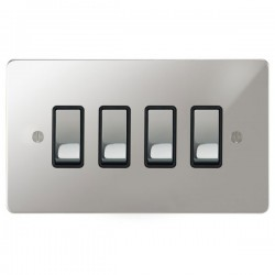 Focus SB Ambassador APC11.4B 4 gang 20 amp 2 way rocker switch in Polished Chrome with black inserts