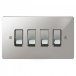 Focus SB Ambassador APC11.4W 4 gang 20 amp 2 way rocker switch in Polished Chrome with white inserts
