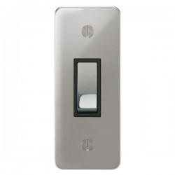 Focus SB Ambassador APC16.1B 1 gang 20 amp 2 way architrave switch in Polished Chrome with black inserts
