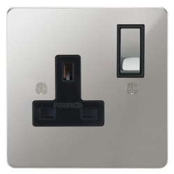 Focus SB Ambassador APC18.1B 1 gang 13 amp switched socket in Polished Chrome with black inserts