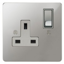 Focus SB Ambassador APC18.1W 1 gang 13 amp switched socket in Polished Chrome with white inserts