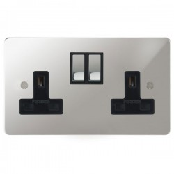 Focus SB Ambassador APC18.2B 2 gang 13 amp switched socket in Polished Chrome with black inserts