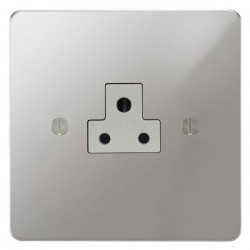 Focus SB Ambassador APC19.1W 1 gang 2 amp unswitched socket in Polished Chrome with white inserts