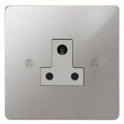 Focus SB Ambassador APC20.1W 1 gang 5 amp unswitched socket in Polished Chrome with white inserts