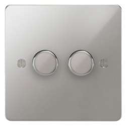 Focus SB Ambassador APC21.2 2 gang 2 way 250W (mains and low voltage) dimmer in Polished Chrome
