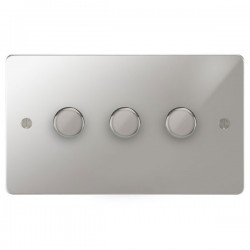 Focus SB Ambassador APC21.3 3 gang 2 way 250W (mains and low voltage) dimmer in Polished Chrome