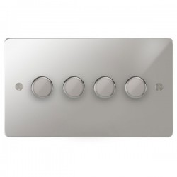 Focus SB Ambassador APC21.4 4 gang 2 way 250W (mains and low voltage) dimmer in Polished Chrome