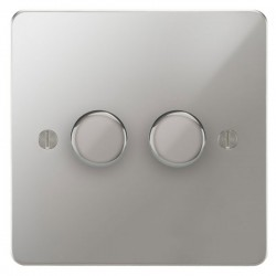 Focus SB Ambassador APC22.2 2 gang 2 way 400W (mains and low voltage) dimmer in Polished Chrome