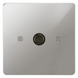 Focus SB Ambassador APC23.1 1 gang isolated co-axial TV socket in Polished Chrome