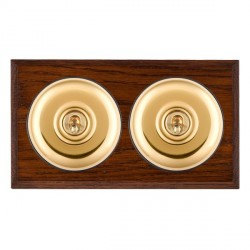 Hamilton Bloomsbury Chamfered Antique Mahogany Plain Polished Brass 2 Gang 2 Way Toggle with Black Insert