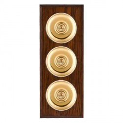 Hamilton Bloomsbury Chamfered Antique Mahogany Plain Polished Brass 3 Gang 2 Way Toggle with Black Insert