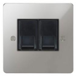 Focus SB Ambassador APC51.2B 2 gang CAT5 RJ45 socket in Polished Chrome with black inserts