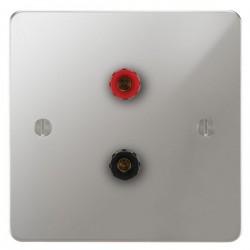 Focus SB Ambassador APC67.1 1 gang speaker outlet (1 red 1 black 4mm socket) in Polished Chrome