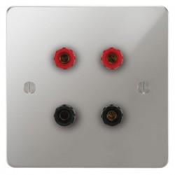 Focus SB Ambassador APC67.2 2 gang speaker outlet (2 red 2 black 4mm socket) in Polished Chrome