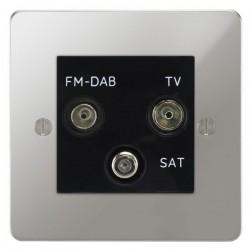 Focus SB Ambassador APC80.3B triplex TV/FM/Satellite outlet in Polished Chrome with black inserts
