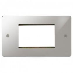 Focus SB Ambassador APCEUR.3 double aperture plate for three single euro modules in Polished Chrome