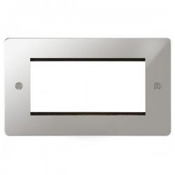 Focus SB Ambassador APCEUR.4 double aperture plate for four single euro modules in Polished Chrome
