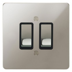 Focus SB Ambassador APN11.2B 2 gang 20 amp 2 way rocker switch in Polished Nickel with black inserts