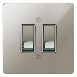 Focus SB Ambassador APN11.2W 2 gang 20 amp 2 way rocker switch in Polished Nickel with white inserts