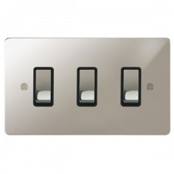 Focus SB Ambassador APN11.3B 3 gang 20 amp 2 way rocker switch in Polished Nickel with black inserts