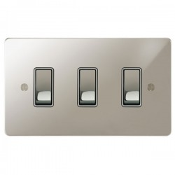 Focus SB Ambassador APN11.3W 3 gang 20 amp 2 way rocker switch in Polished Nickel with white inserts