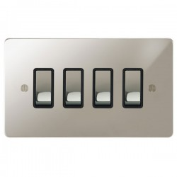 Focus SB Ambassador APN11.4B 4 gang 20 amp 2 way rocker switch in Polished Nickel with black inserts