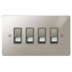 Focus SB Ambassador APN11.4W 4 gang 20 amp 2 way rocker switch in Polished Nickel with white inserts