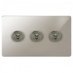 Focus SB Ambassador APN14.3 3 gang 20 amp 2 way toggle switch in Polished Nickel