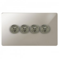 Focus SB Ambassador APN14.4 4 gang 20 amp 2 way toggle switch in Polished Nickel