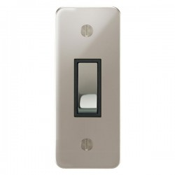 Focus SB Ambassador APN16.1B 1 gang 20 amp 2 way architrave switch in Polished Nickel with black inserts