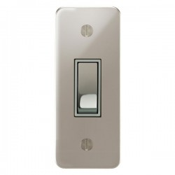 Focus SB Ambassador APN16.1W 1 gang 20 amp 2 way architrave switch in Polished Nickel with white inserts