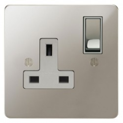 Focus SB Ambassador APN18.1W 1 gang 13 amp switched socket in Polished Nickel with white inserts