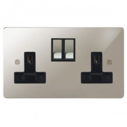 Focus SB Ambassador APN18.2B 2 gang 13 amp switched socket in Polished Nickel with black inserts