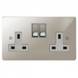 Focus SB Ambassador APN18.2W 2 gang 13 amp switched socket in Polished Nickel with white inserts