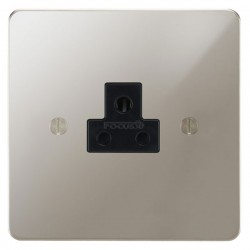 Focus SB Ambassador APN19.1B 1 gang 2 amp unswitched socket in Polished Nickel with black inserts