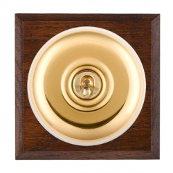 Hamilton Bloomsbury Chamfered Antique Mahogany Plain Polished Brass 1 Gang Intermediate Toggle with White Insert