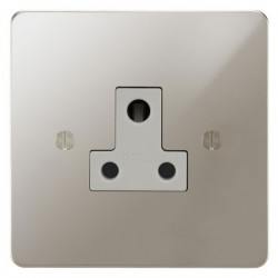 Focus SB Ambassador APN20.1W 1 gang 5 amp unswitched socket in Polished Nickel with white inserts