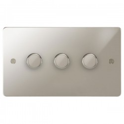 Focus SB Ambassador APN21.3 3 gang 2 way 250W (mains and low voltage) dimmer in Polished Nickel
