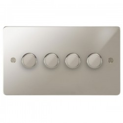 Focus SB Ambassador APN21.4 4 gang 2 way 250W (mains and low voltage) dimmer in Polished Nickel
