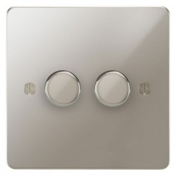 Focus SB Ambassador APN22.2 2 gang 2 way 400W (mains and low voltage) dimmer in Polished Nickel