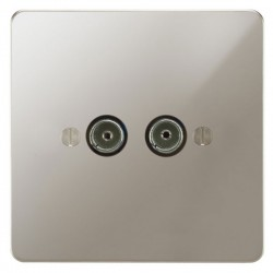 Focus SB Ambassador APN23.2 2 gang isolated co-axial TV socket in Polished Nickel