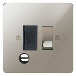 Focus SB Ambassador APN28.1B 13 amp switched fuse spur with cord outlet in Polished Nickel with black inserts