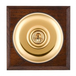 Hamilton Bloomsbury Chamfered Antique Mahogany Plain Polished Brass 1 Gang Double Pole Toggle with Black Insert