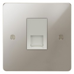 Focus SB Ambassador APN51.1W 1 gang CAT5 RJ45 socket in Polished Nickel with white inserts