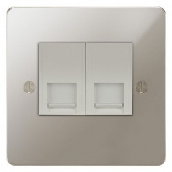 Focus SB Ambassador APN51.2W 2 gang CAT5 RJ45 socket in Polished Nickel with white inserts