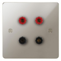 Focus SB Ambassador APN67.2 2 gang speaker outlet (2 red 2 black 4mm socket) in Polished Nickel