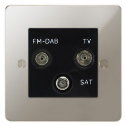 Focus SB Ambassador APN80.3B triplex TV/FM/Satellite outlet in Polished Nickel with black inserts