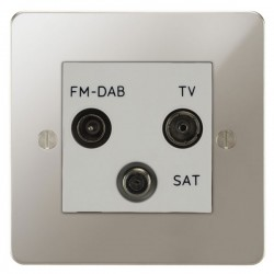 Focus SB Ambassador APN80.3W triplex TV/FM/Satellite outlet in Polished Nickel with white inserts