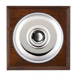 Hamilton Bloomsbury Chamfered Antique Mahogany Plain Bright Chrome Bell Push Toggle with Black Insert