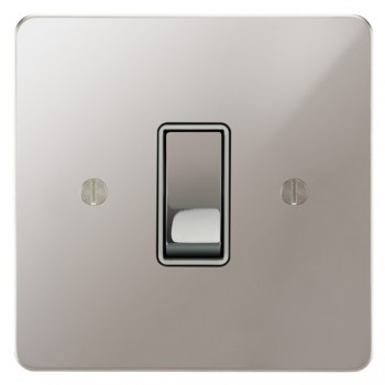 Focus SB Ambassador APS11.1W 1 gang 20 amp 2 way rocker switch in Polished Stainless with white inserts